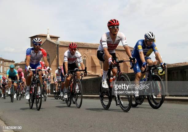 William Bonnet of France and Team GroupamaFDJ / Giulio Ciccone of Italy and Team TrekSegafredo / Jasper Stuyven of Belgium and Team TrekSegafredo /...