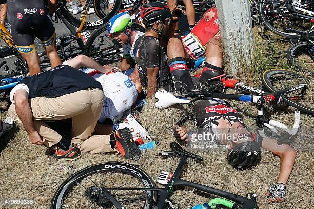 William Bonnet of France riding for FDJ, Simon Gerrans of Australia riding for Orica-GreenEdge, Jose Mendes of Portugal riding for Bora-Argon 18,...