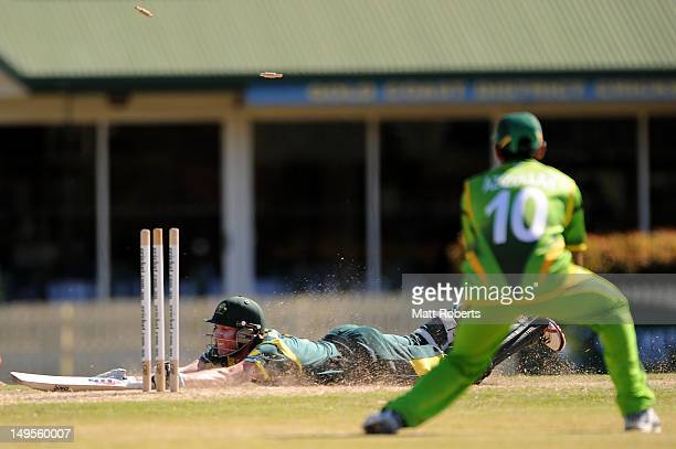 William Bosisto of Australia is run out during the ICC U19 Cricket OneDay International match between Australia and Pakistan at Kerrydale Oval on...