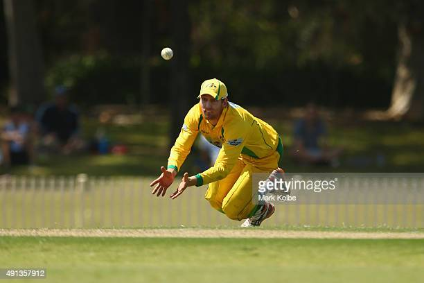 William Bosisto of the Cricket Australia XI dives in attampt to take a catch during the Matador BBQs One Day Cup match between New South Wales and...