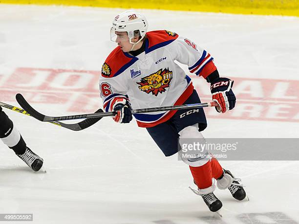 William Bower of the Moncton Wildcats skates during the QMJHL game against the Blainville-Boisbriand Armada at the Centre d'Excellence Sports...