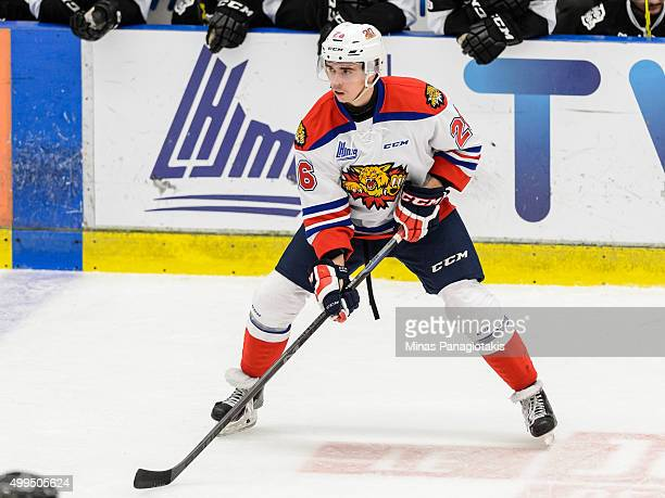 William Bower of the Moncton Wildcats waits for a pass during the QMJHL game against the Blainville-Boisbriand Armada at the Centre d'Excellence...