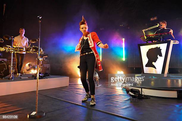 William Bowerman Elly Jackson and Mickey O'Brien of La Roux performs on stage at Shepherds Bush Empire on November 25 2009 in London England