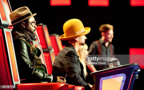 william Boy George Paloma Faith and Ricky Wilson watch Stevie McCrorie performing on The Voice on November 15 2015 in Manchester United Kingdom