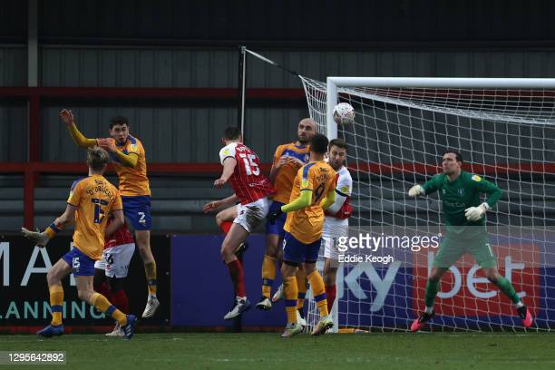 William Boyle of Cheltenham Town scores their team's second goal during the FA Cup Third Round match between Cheltenham Town and Mansfield Town at...