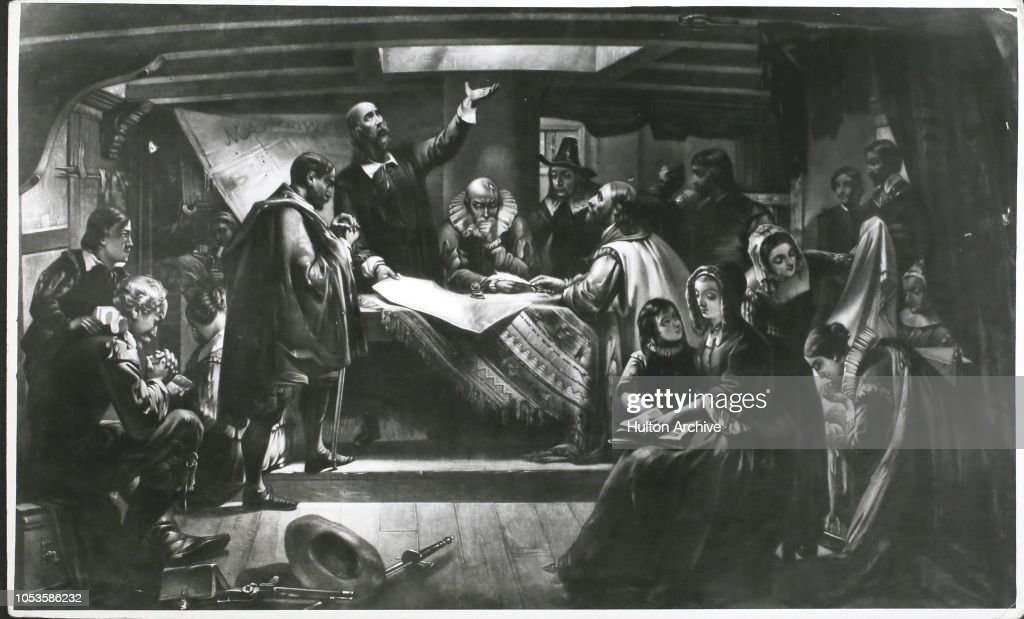 William Bradford At The Signing Of The Compact In The Cabin Of The 'Mayflower'. After Edwin White) : News Photo