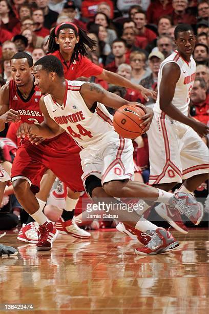 William Buford of the Ohio State Buckeyes controls the ball against the Nebraska Cornhuskers on January 3 2012 at Value City Arena in Columbus Ohio