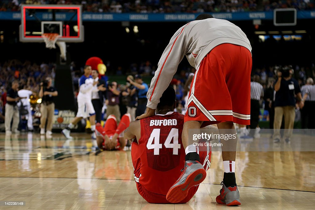 William Buford #44 of the Ohio State Buckeyes reacts after the Buckeyes lose to the Kansas Jayhawks 64-62 during the National Semifinal game of the 2012 NCAA Division I Men's Basketball Championship at the Mercedes-Benz Superdome on March 31, 2012 in New Orleans, Louisiana.