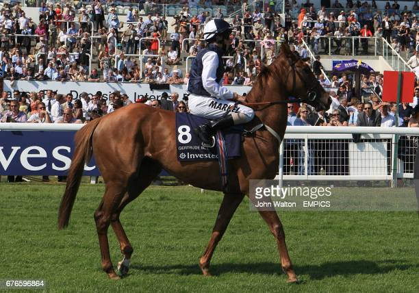 William Buick on Gertrude Bell during the Investec Oaks on day one of the Oaks Derby at Epsom Racecourse