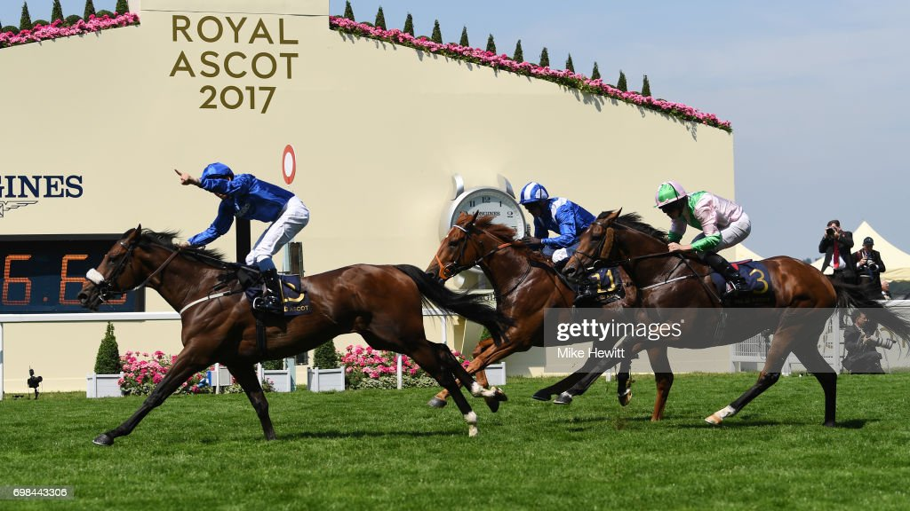 William Buick on Ribchester (sheepskin noseband) wins the Queen Anne Stakes on the opening day of Royal Ascot at Ascot Racecourse on June 20, 2017 in Ascot, England.