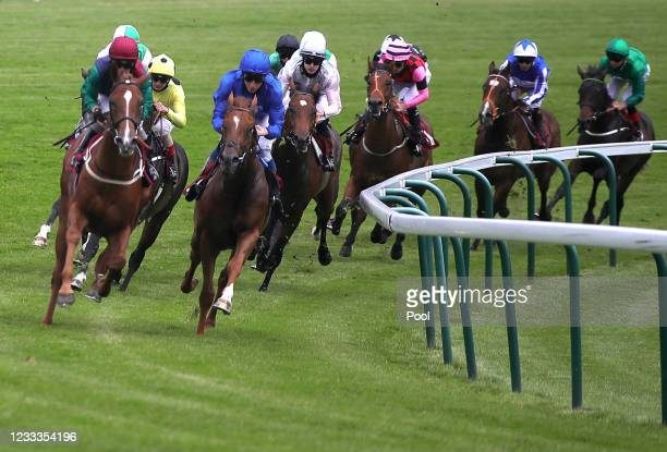 William Buick riding Albahr on their way to winning the Watch Racing TV Now Novice Stakes at Haydock Park Racecourse on June 9, 2021...