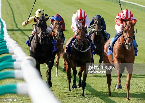 William Buick riding Daahyeh win The Shadwell Rockfel Stakes at Newmarket Racecourse on September 27 2019 in Newmarket England