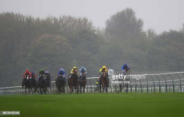 William Buick riding Hadith during The Kier Construction Central EBF Maiden Fillies' Stakes race at Nottingham Racecourse on October 18 2017 in...