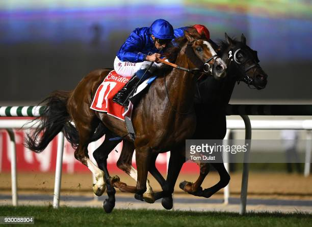 William Buick riding Hawkbill wins the Dubai City of Gold race during Dubai World Cup Carnival Races at the Meydan Racecourse on March 10 2018 in...