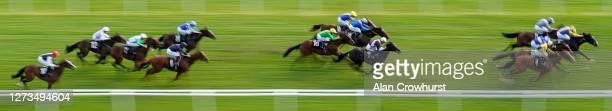 William Buick riding Ibiza Rocks win The Heatherwold Stud EBF Novice Stakes at Newbury Racecourse on September 19 2020 in Newbury England Owners are...