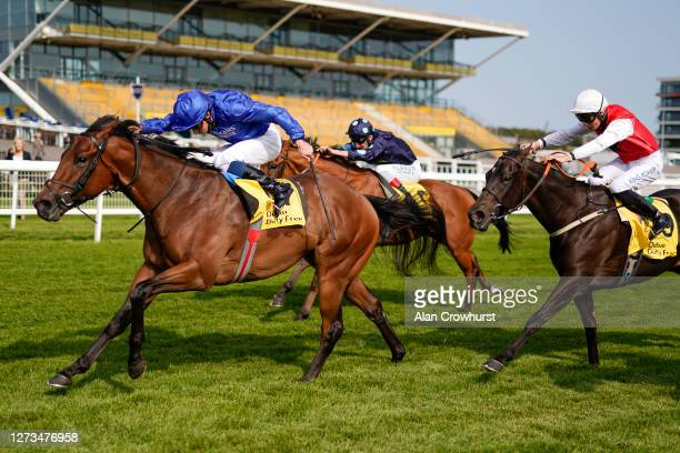 William Buick riding Lazuli win The Dubai International Airport World Trophy Stakes at Newbury Racecourse on September 19 2020 in Newbury England...