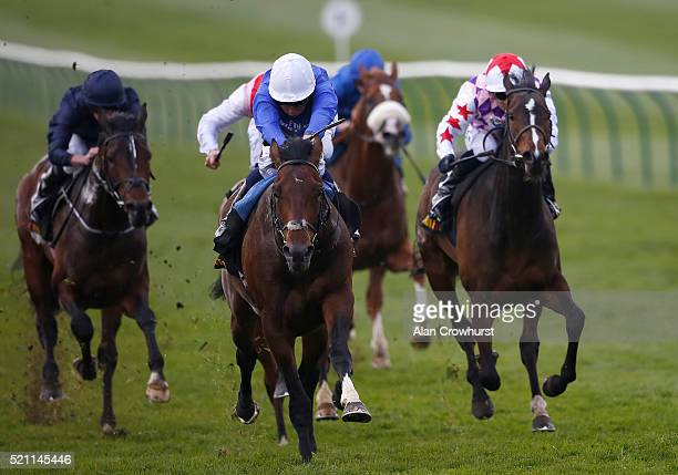 William Buick riding Linguistic win The £200000 TattersallsMillions 3YO Trophy at Newmarket racecourse on April 14 2016 in Newmarket England