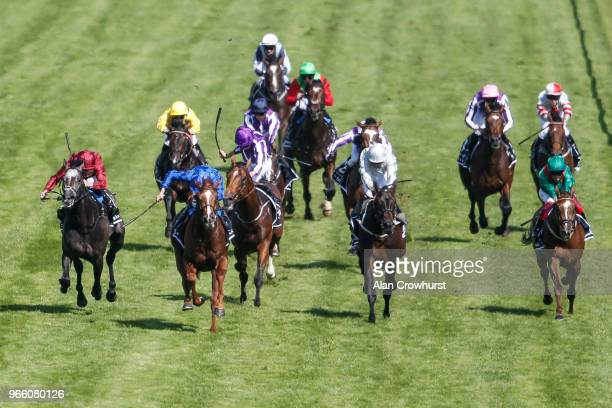 William Buick riding Masar win The Investec Derby during Investec Derby Day at Epsom Downs Racecourse on June 2, 2018 in Epsom, United Kingdom.