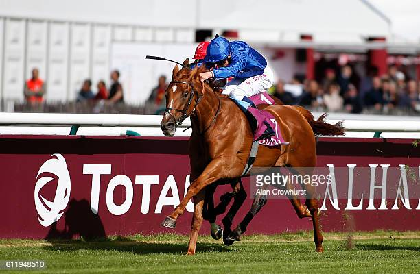 William Buick riding Wuheida win The Total Prix Marcel Boussac at Chantilly racecourse on October 02 2016 in Chantilly France