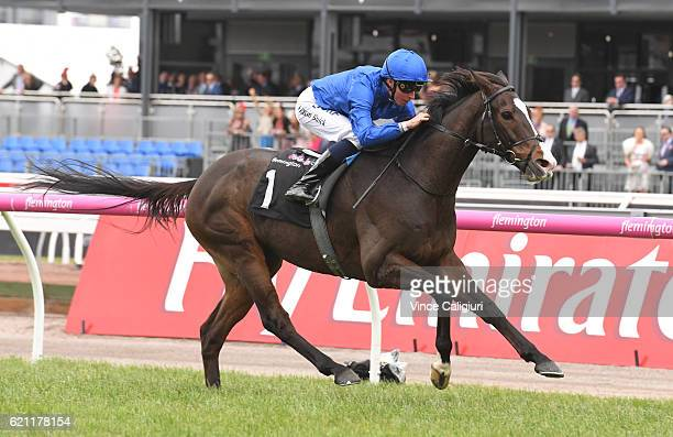 William Buik riding Francis of Assisi wins Race 3 Queen Elizabeth Stakes on Stakes Day at Flemington Racecourse on November 5 2016 in Melbourne...