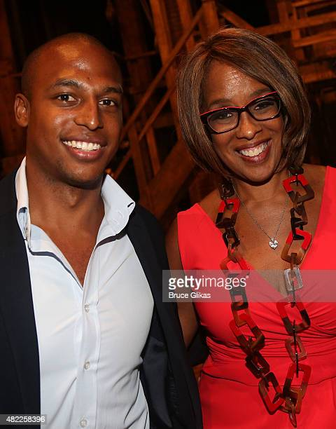 William Bumpus Jr and mother Gayle King pose backstage at the hit musical Hamilton on Broadway at The Richard Rogers Theater on July 28 2015 in New...