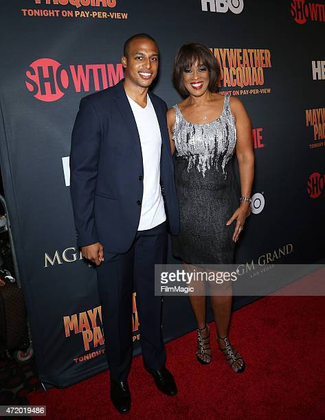 William Bumpus Jr and TV personality Gayle King attend attend the SHOWTIME And HBO VIP PreFight Party for Mayweather VS Pacquiaoat MGM Grand Hotel...