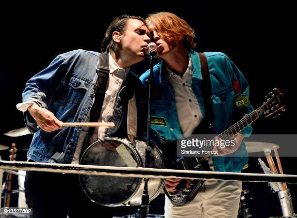 William Butler and Richard Reed Parry of Arcade Fire perform live on stage at Manchester Arena on April 8 2018 in Manchester England