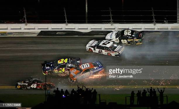 William Byron driver of the Axalta Chevrolet crashes during the Monster Energy NASCAR Cup Series 61st Annual Daytona 500 at Daytona International...