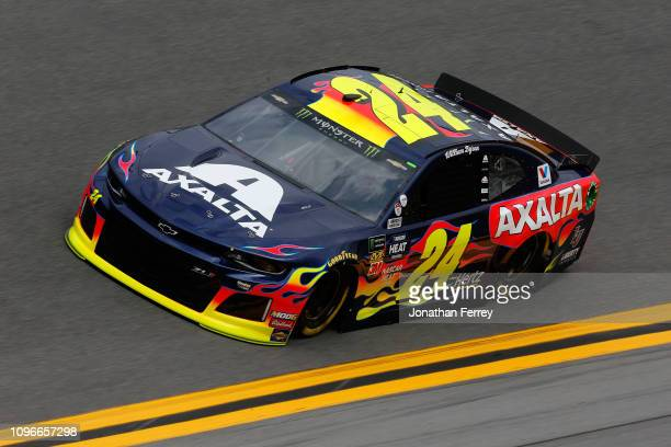 William Byron driver of the Axalta Chevrolet drives during practice for the Monster Energy NASCAR Cup Series 61st Annual Daytona 500 at Daytona...