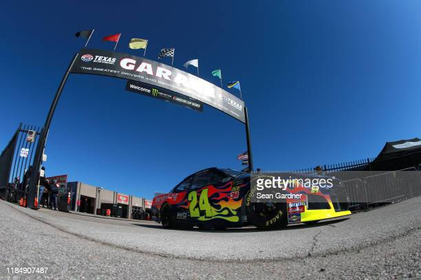 William Byron driver of the Axalta Chevrolet drives through the garage area during practice for the Monster Energy NASCAR Cup Series AAA Texas 500 at...