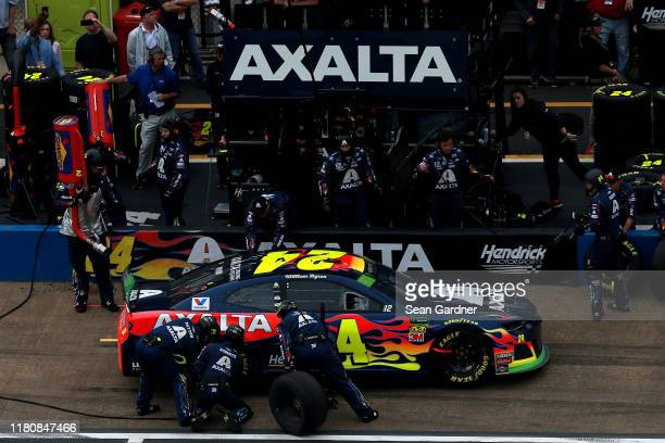 William Byron driver of the Axalta Chevrolet pits during Monster Energy NASCAR Cup Series 1000Bulbscom 500 at Talladega Superspeedway on October 13...