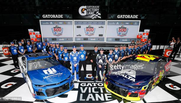 William Byron driver of the Axalta Chevrolet poses for a photo after winning the pole award with second place Alex Bowman driver of the Nationwide...
