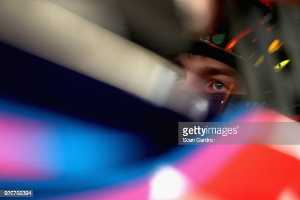 William Byron driver of the AXALTA Chevrolet sits in his car during practice for the Monster Energy NASCAR Cup Series Pennzoil 400 presented by Jiffy...