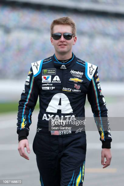 William Byron driver of the Axalta Chevrolet stands on the grid during qualifying for the Monster Energy NASCAR Cup Series 61st Annual Daytona 500 at...