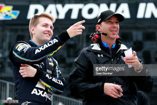 William Byron driver of the Axalta Chevrolet talks with crew chief Chad Knaus during qualifying for the Monster Energy NASCAR Cup Series 61st Annual...