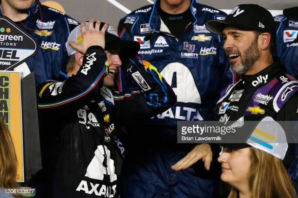 William Byron driver of the Axalta 'Color of the Year' Chevrolet celebrates in Victory Lane after winning the NASCAR Cup Series Bluegreen Vacations...