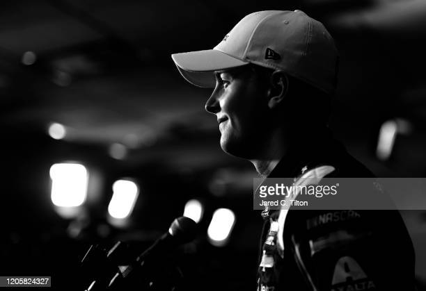 William Byron driver of the Axalta 'Color of the Year' Chevrolet speaks with the media during the NASCAR Cup Series 62nd Annual Daytona 500 Media Day...