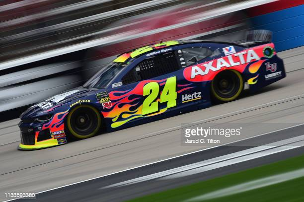 William Byron driver of the Axalta/Primeline Chevrolet drives during practice for the Monster Energy NASCAR Cup Series O'Reilly Auto Parts 500 at...
