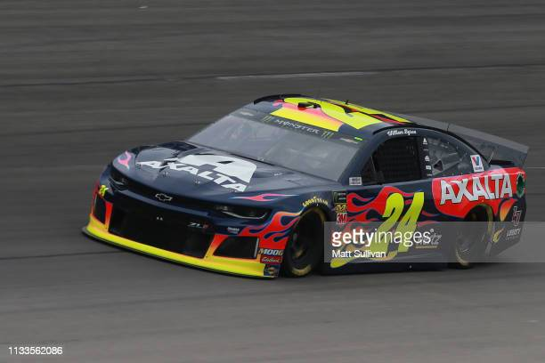 William Byron driver of the Axalta/Primeline Chevrolet practices for the Monster Energy NASCAR Cup Series O'Reilly Auto Parts 500 at Texas Motor...