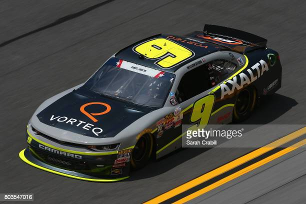 William Byron driver of the AXALTA/Vorteq Chevrolet practices for the NASCAR XFINITY Series CocaCola Firecracker 250 at Daytona International...