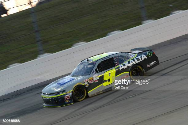 William Byron driver of the AXALTA/WINDSORWindowDoor Chevrolet drives during the NASCAR XFINITY Series American Ethanol E15 250 at Iowa Speedway on...