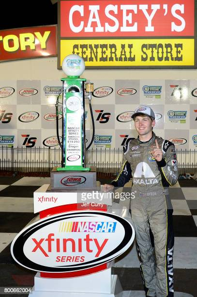 William Byron driver of the AXALTA/WINDSORWindowDoor Chevrolet celebrates in Victory Lane after winning the NASCAR XFINITY Series American Ethanol...