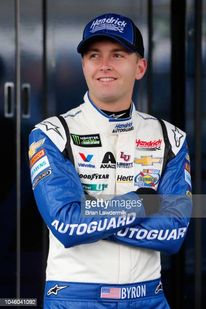 William Byron driver of the Hendrick Autoguard Chevrolet looks on during practice for the Monster Energy NASCAR Cup Series Gander Outdoors 400 at...