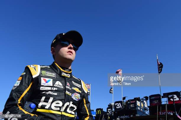 William Byron driver of the Hertz Chevrolet walks through the garage area during practice for the Monster Energy NASCAR Cup Series CanAm 500 at ISM...