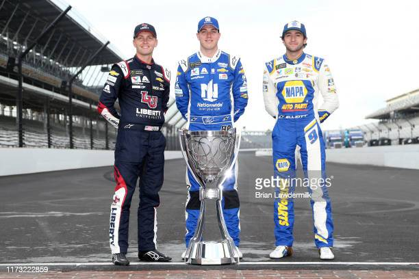 William Byron driver of the Liberty University Chevrolet Alex Bowman driver of the Nationwide Chevrolet and Chase Elliott driver of the NAPA AUTO...