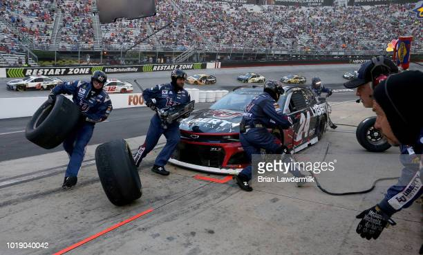 William Byron driver of the Liberty University Chevrolet pits during the Monster Energy NASCAR Cup Series Bass Pro Shops NRA Night Race at Bristol...