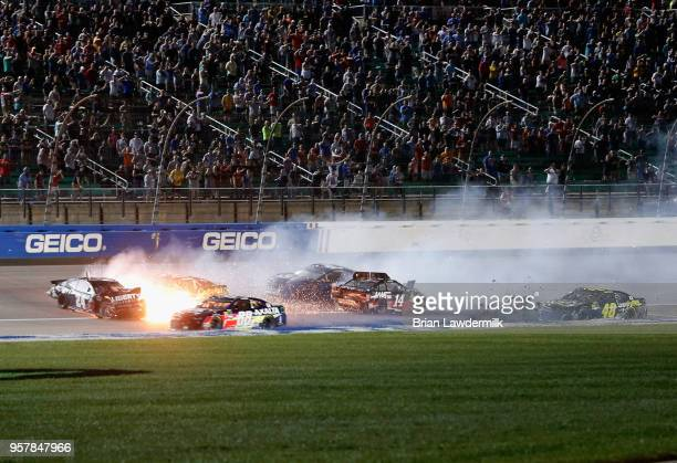 William Byron, driver of the Liberty University Chevrolet, Ryan Newman, driver of the Bass Pro Shops/Cabela's Chevrolet, and Clint Bowyer, driver of...