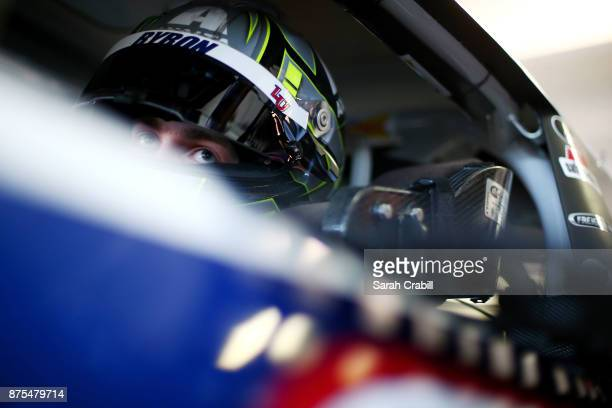 William Byron driver of the Liberty University Chevrolet sits in his car during practice for the NASCAR XFINITY Series Championship Ford EcoBoost 300...