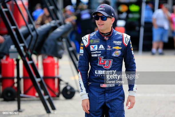 William Byron driver of the Liberty University Chevrolet walks to his car during practice for the Monster Energy NASCAR Cup Series Firekeepers Casino...
