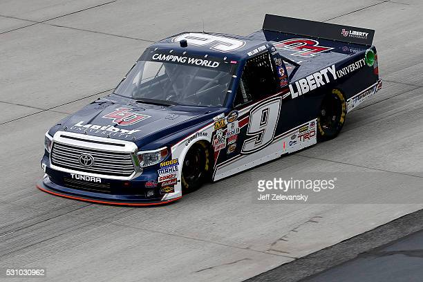 William Byron driver of the Liberty University Toyota practices for the NASCAR Camping World Truck Series at Dover International Speedway on May 12...